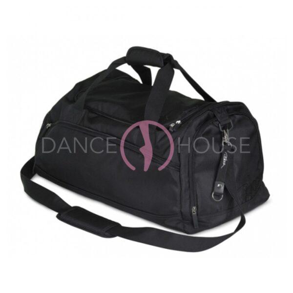 Borsone danza in tela nera con tasche